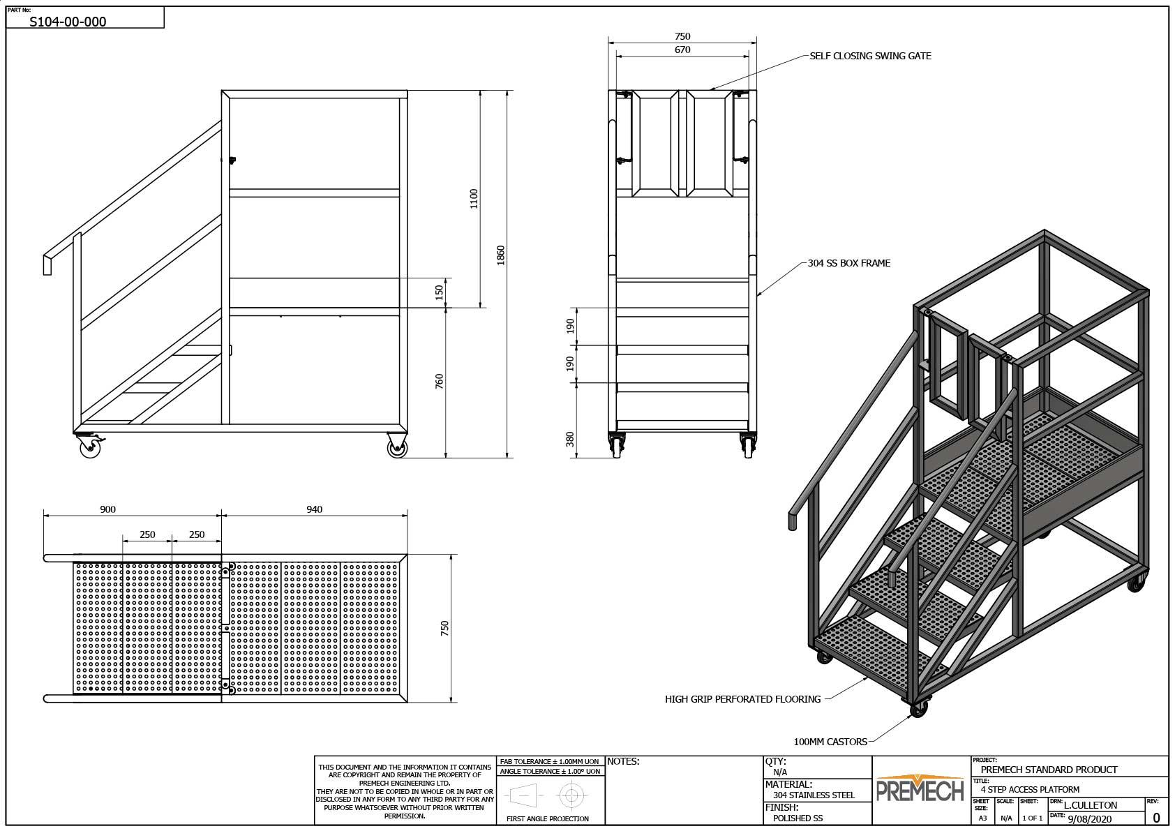 Stainless Steel Access Platform 4 Step
