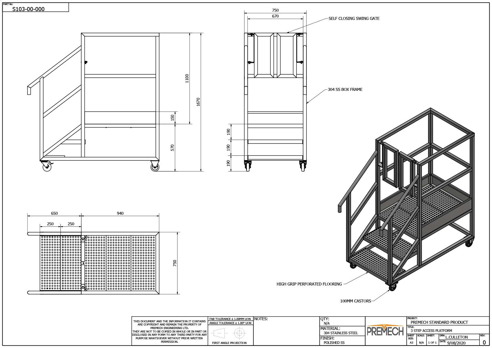 Stainless Steel Access Platform 3 Step