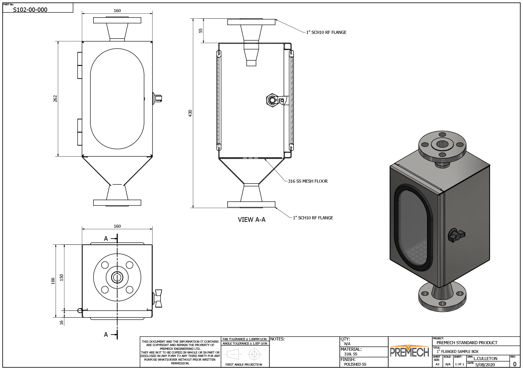 Sample Box with Flanged Fittings